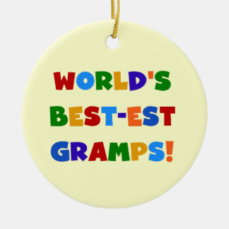 Bright Colors World's Best Gramps Gifts Round Ceramic Decoration