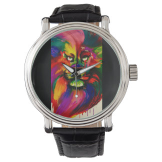 Bright colour male lion hand painted tattoo ink watch