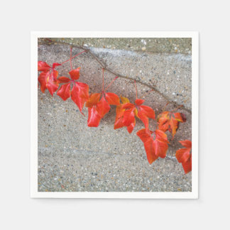Bright coloured autumn leaves disposable serviette