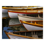Bright coloured boats at the Wooden Boat Centre Poster