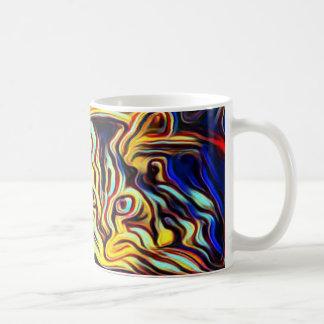 Bright coloured cat art mug