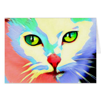 Bright coloured cat face card, blank inside card