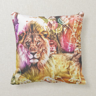 bright coloured lion cushion