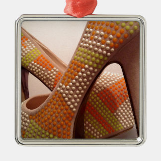 Bright coloured orange green yellow white shoes christmas ornament