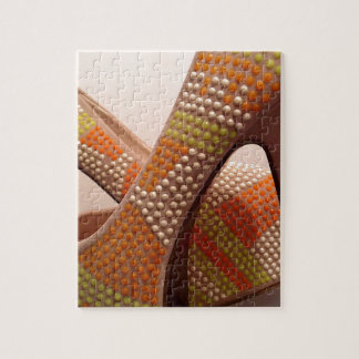 Bright coloured orange green yellow white shoes jigsaw puzzle