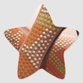 Bright coloured orange green yellow white shoes star sticker