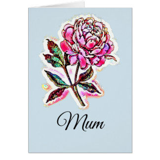 Bright coloured peony mum card any occasion