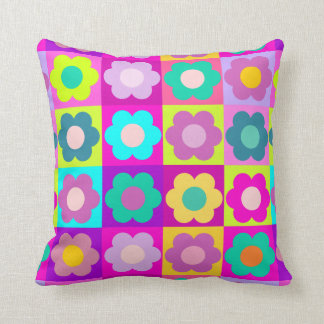 Bright coloured pop art floral cushion