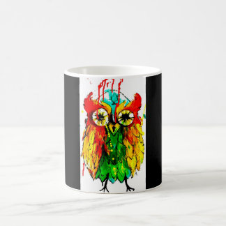 Bright coloured vivid tattoo ink cute owl mug