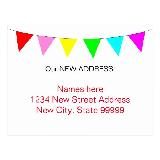 Bright Colourful Banner Flags New Address Postcard