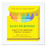 Bright Colourful Crayons Arts Kids Birthday Party 13 Cm X 13 Cm Square Invitation Card