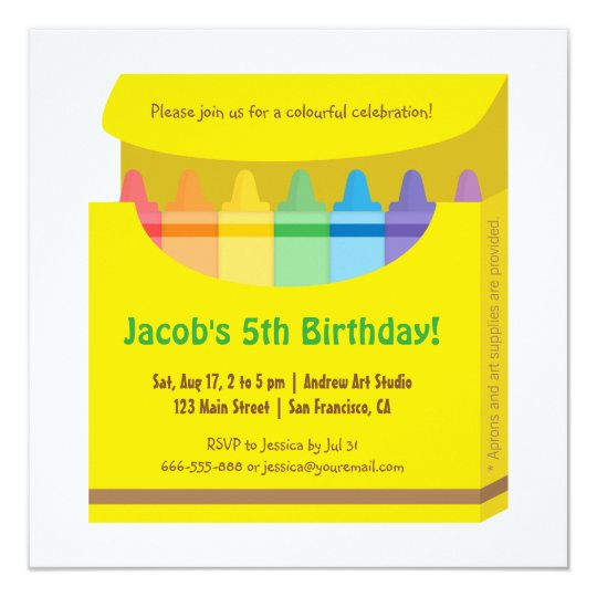 Bright Colourful Crayons Arts Kids Birthday Party Card