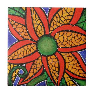 Bright Colourful Flower Art Ceramic Tile