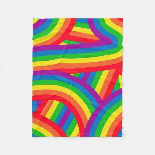 Bright Colourful Fun Rainbow Stripes Pattern Fleece Blanket