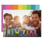 Bright Colourful Happiest New Year Holiday Photo Card
