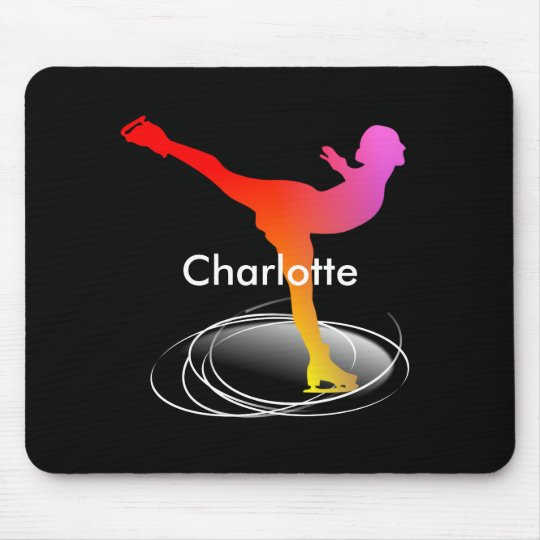 Bright Colourful Ice Skating Skater Silhouette Mouse Mat