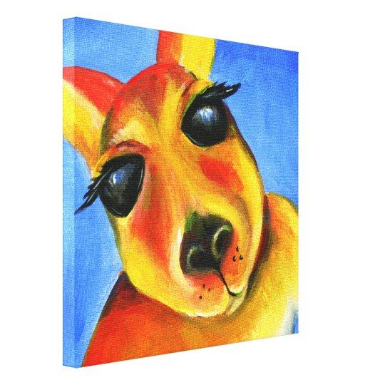 Bright colourful Kangaroo animal face art Canvas Print