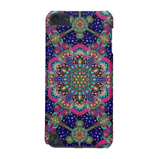 Bright colourful mandala pattern on dark blue iPod