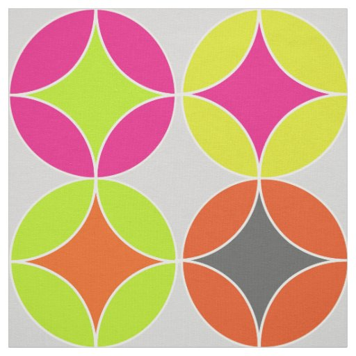 Bright Colourful Modern Circles Repeat Patterned Fabric