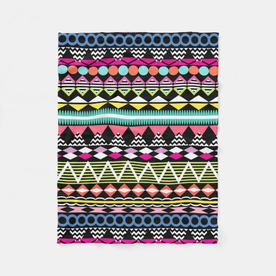 Bright Colourful Party Aztec Pattern Fleece Blanket