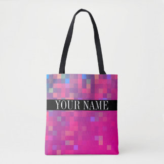 Bright Colourful Pixel Square Pattern Tote Bag