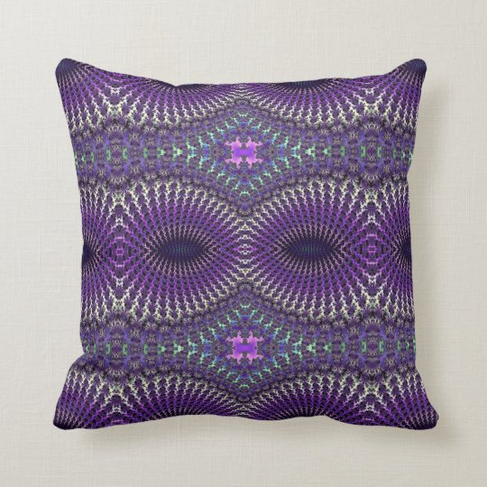 Bright Colourful Purple Silver Fractal Eye Mask Cushion