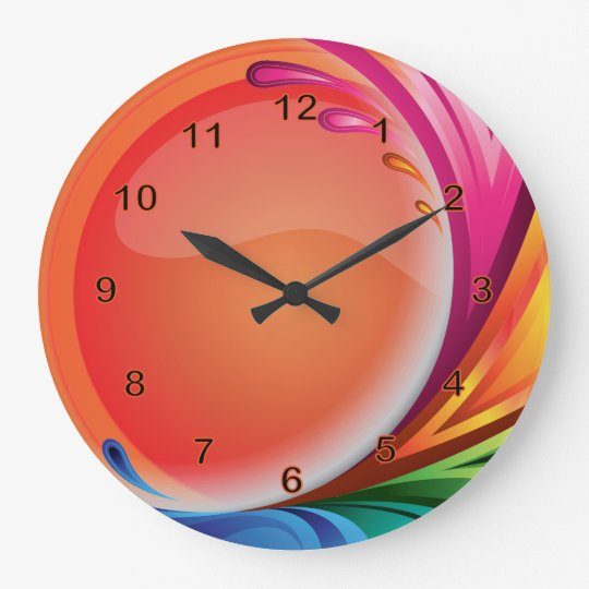 Bright Colourful Retro Abstract Large Clock