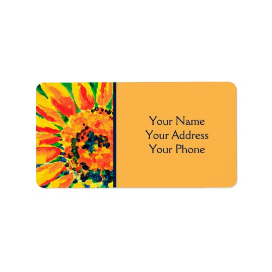 Bright Colourful Single Sunflower Acrylic Painting Address Label