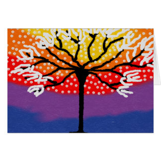 Bright colourful tree card