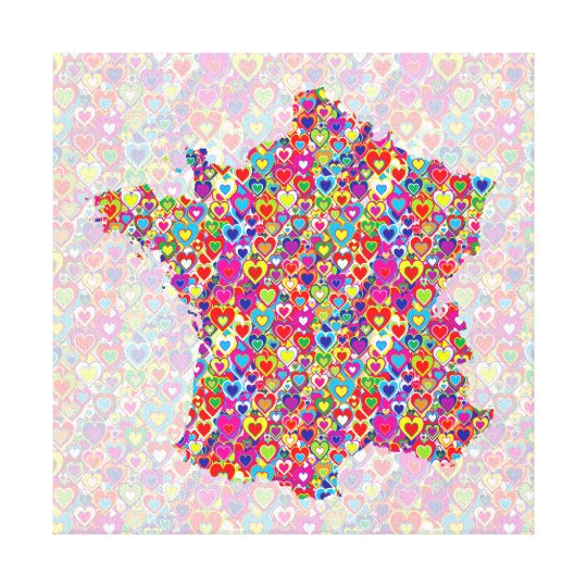 Bright Colourful Upbeat Heart Filled Map of France