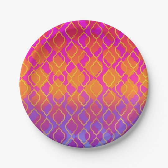 Bright Colours Arabian Moroccan Glam Party Paper Plate
