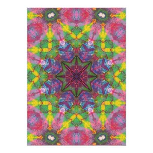Bright Colours Paint Mandala 13 Cm X 18 Cm Invitation Card