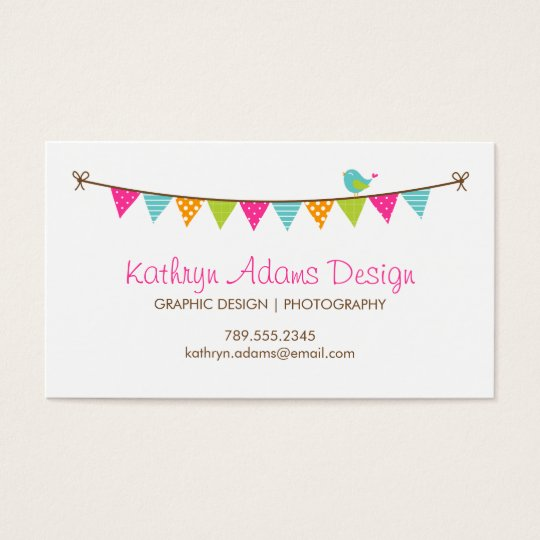 Bright Colours Patterned Bunting and Cute Bird Business