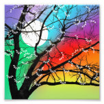 Bright Colours Tree and Moon Photo