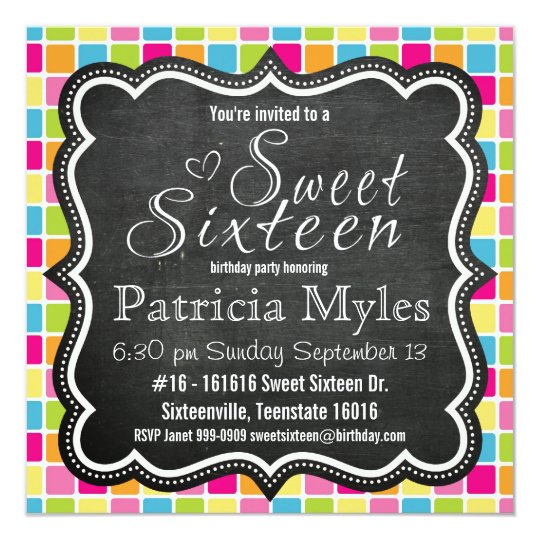 Bright Colours with Chalkboard Sign Sweet 16 Party