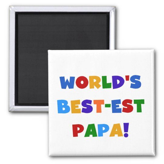 Bright Colours World's Best Papa Tshirts and Gifts Square Magnet