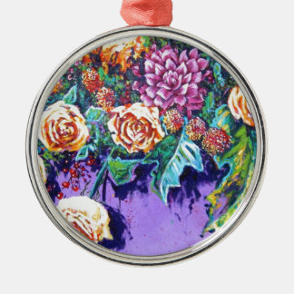 bright contemporary purple floral Silver-Colored round decoration