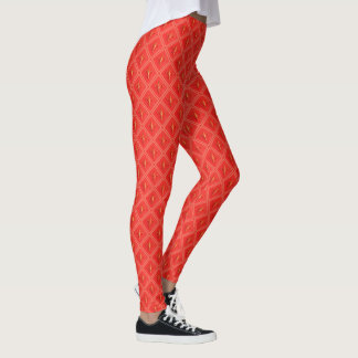 Bright Coral Fleur de Lis Diamond Pattern Leggings