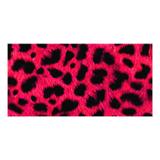 BRIGHT CORAL PINK HOT BLACK ANIMAL PRINT PATTERN D PHOTO CARD TEMPLATE