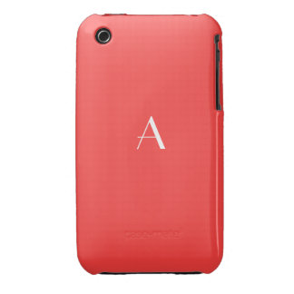 Bright Coral Red iPhone 3G/3GS Case w Monogram iPhone 3 Case-Mate Cases