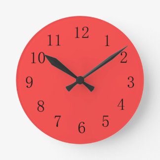 Bright Coral Red Kitchen Wall Clock