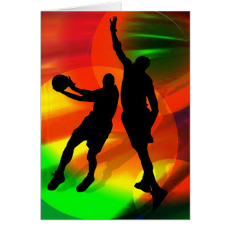 Bright Court Lights and Basketball Duo Greeting Card