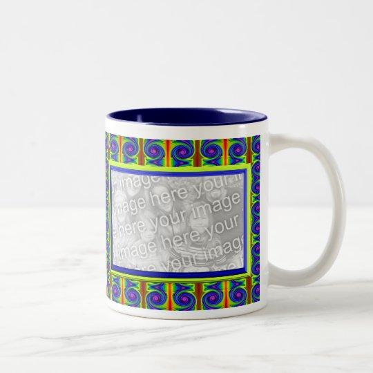 bright curles colourful photo frame Two-Tone coffee mug