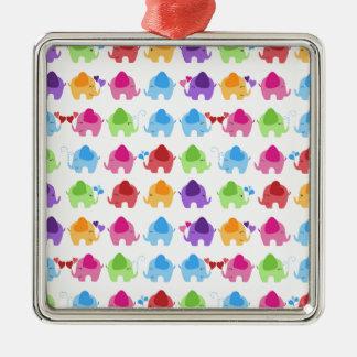 bright cute baby elephant design Silver-Colored square decoration