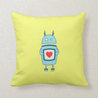 Bright Cute Clumsy Robot With Heart Cushion