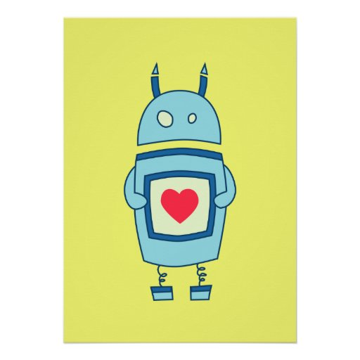 Bright Cute Clumsy Robot With Heart Poster