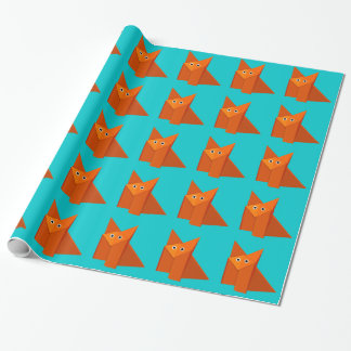 Bright Cute Origami Fox Pattern Wrapping Paper