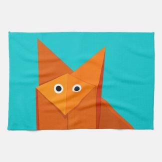 Bright Cute Origami Fox Tea Towel