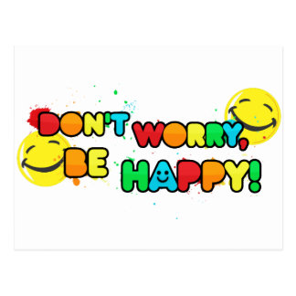 bright don t worry be happy smiley face design postcard