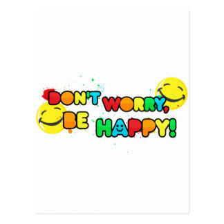 bright don t worry be happy smiley face design post card
